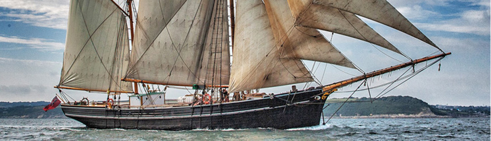 View of Bessie Ellen sailing around Cornwall