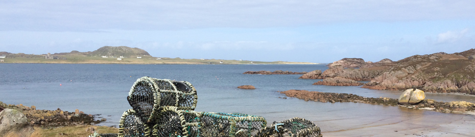 Crab pots on the Cornish coast.