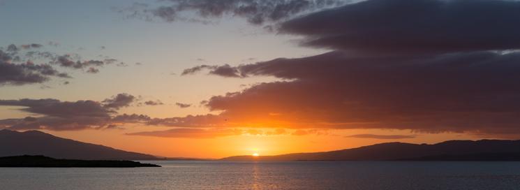Sunset from tall ship Bessie Ellen in Oban