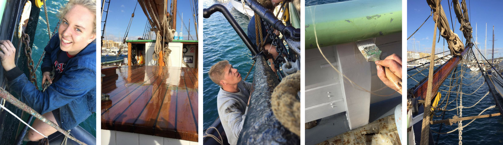 collage of maintenance work done on board bessie ellen