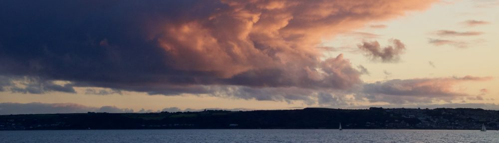 Stormy sunset over Newlyn, Cornwall